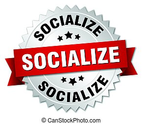 socialize round isolated silver badge