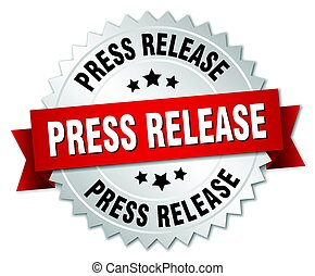 press release round isolated silver badge