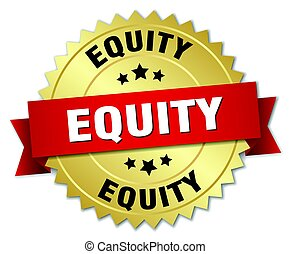 equity round isolated gold badge