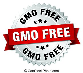 gmo free round isolated silver badge