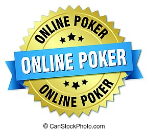 online poker round isolated gold badge