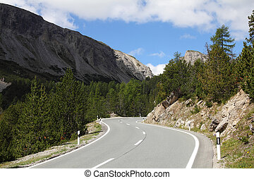 Road in Switzerland - Road to Ofenpass (other name: Fuorn...