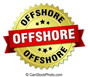 offshore round isolated gold badge