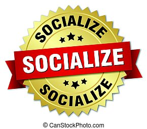 socialize round isolated gold badge