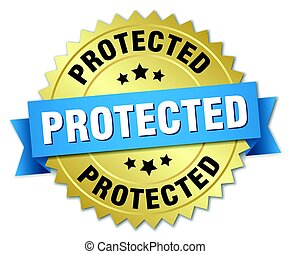 protected round isolated gold badge