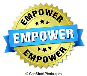 empower round isolated gold badge