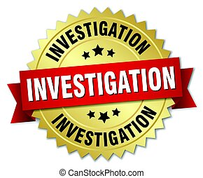 investigation round isolated gold badge