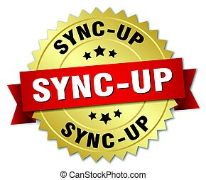 sync-up round isolated gold badge