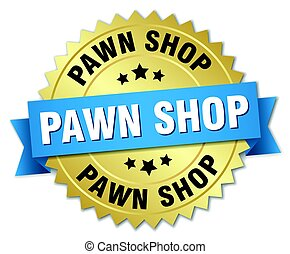 pawn shop round isolated gold badge