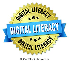 digital literacy round isolated gold badge