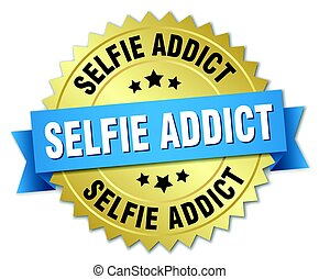 selfie addict round isolated gold badge