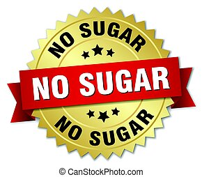 no sugar round isolated gold badge