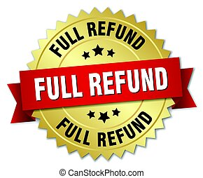 full refund round isolated gold badge