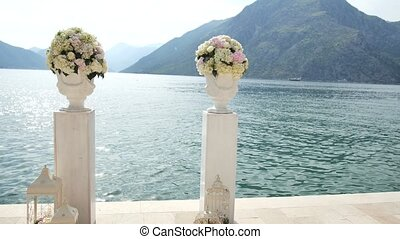 Wedding ceremony on the shore of Lake Como in Italy