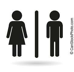 black ladies and gents toilet icon signs