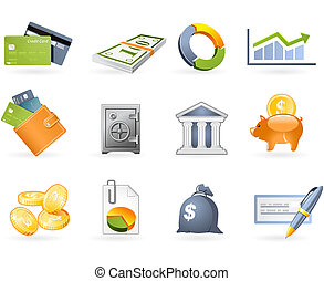 Banking and Finance icon set on the white