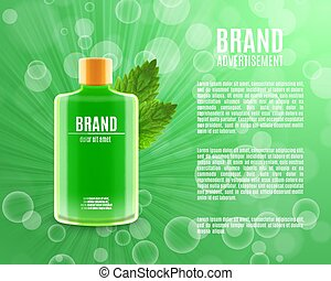 Mouth rinse ads. Refreshing mouthwash product with leaves of...