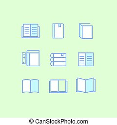 Set of book outline icons on green background