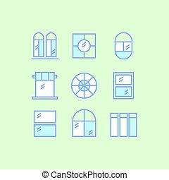 Set of window outline icons on green background