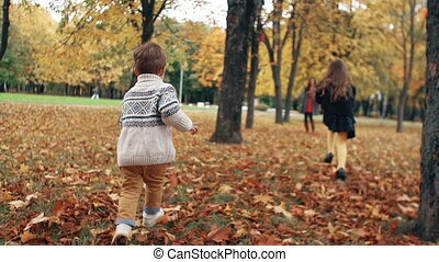 happy cute brother and sister a little boy and girl runs to his mother through amazing autumn alley in the park slow mo