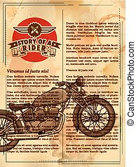 Vintage motorcycle on retro background