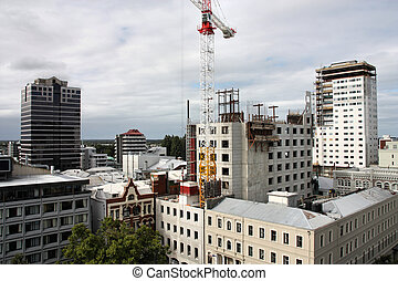 Christchurch - City skyline with skyscraper construction in...