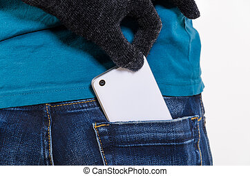 Mobile phone in a pocket - Taking modern smartphone out of...