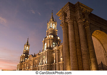 Arequipa, Peru: View of the Cathedral main church at the...