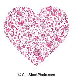 Pink Valentines heart - Valentines heart with birds,flowers...
