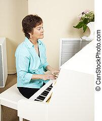 pianiste, jouer, église, hymnes