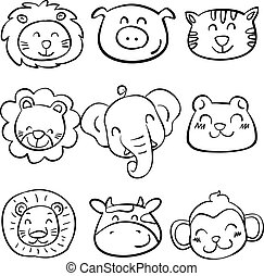 Collection of animal head doodle set