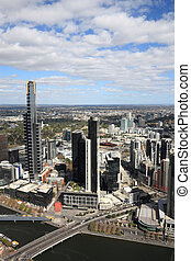 Melbourne - Aerial view of Melbourne and Yarra River. The...