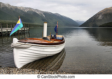 New Zealand. Nelson Lakes National Park - small steamboat...