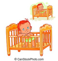 Vector illustration baby is in his cot. Print, template,...