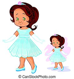 Vector clip art illustration with young girl in ballroom, period costume.