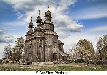 Dark Ancient Wooden Church
