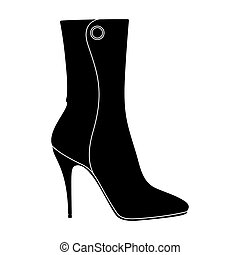 Demi tall womens boots high heel.Different shoes single icon...