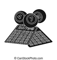 Lottery.Old age single icon in black style bitmap,raster...
