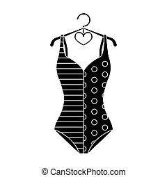 Blue and white swimsuit for competitive swimming. Swimsuit with checkered pattern.Swimcuits single icon in black style bitmap,raster symbol stock illustration.