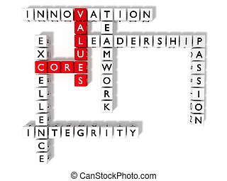 Crossword puzzle showing core values keywords flat view -...