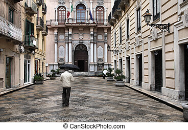 Sicilia - Trapani, Sicily in Italy Old town and anonymous...