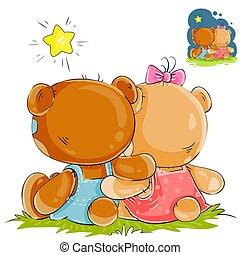 vector, Sentado, osos, teddy, Ilustración, Mirar, estrellas,...