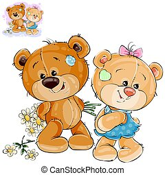 Vector teddy bear hides behind back a bouquet of flowers and does not dare to give them to her girlfriend.
