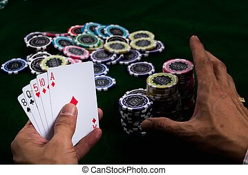 Using a ruse to lure other players - The gambler using a...