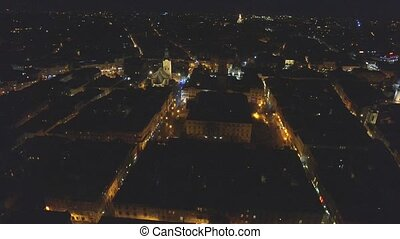 Night aerial view of Lviv Opera, Central part of old city. Ukraine.