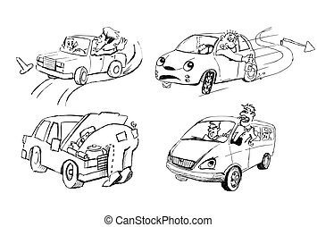 Funny sketches of people and cars - Four different cars and...