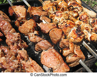 meat skewers - the delicious hot meat skewers on grill