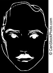 vector sketch of a young man with a mustache
