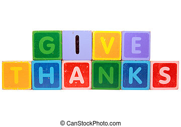 give thanks in toy block letters