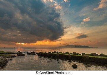 Nha Trang Bay Jetty Sunrise Sky - A view of Nha Trang bay...